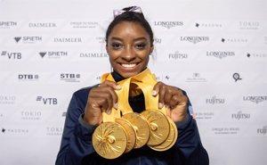 Simone Biles, la gimnasta amb més medalles de la història dels Mundials (Marijan Murat/dpa)