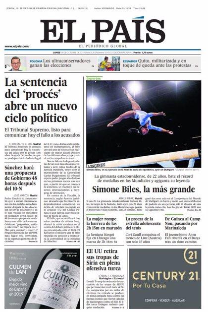 Las portadas de los periódicos del lunes 14 de octubre de 2019