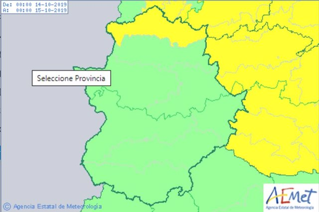 Aviso amarillo en el norte de Cáceres