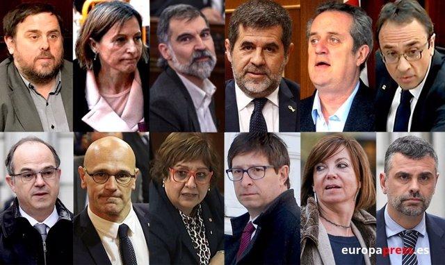 Muntatge amb els rostres dels líders independentistes de l'1-O i presos del procés.