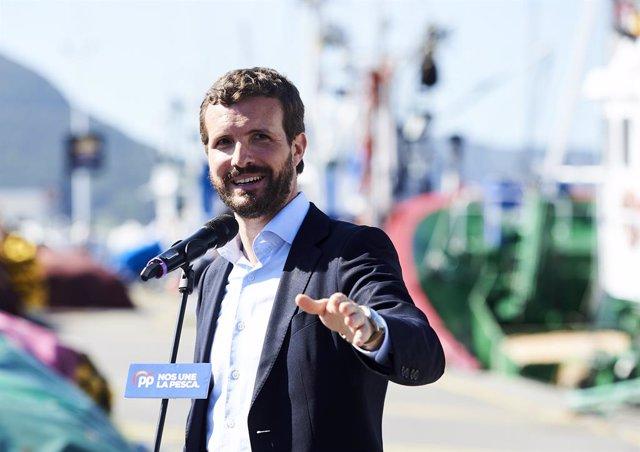 El president del Partit Popular, Pablo Casado, ofereix declaracions als mitjans,  a 10 de octubre de 2019.