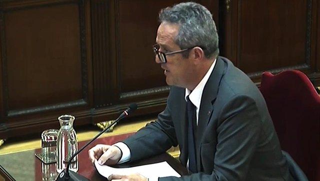 L'exconseller de la Generalitat de Catalunya, Joaquim Forn, durant la seva intervenció davant del Trubunal Suprem, en l'última jornada del judici del procés.