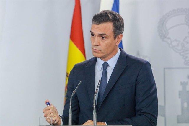 El president del Govern central, Pedro Sánchez, ofereix una roda de premsa  posterior a la seva reunió amb el rei per proposar candidat a la Presidència, al complex de La Moncloa, Madrid (Espanya) a 17 de setembre de 2019.