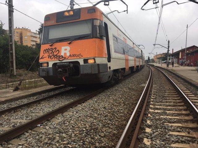 Talls de vies de tren a Celrà (Girona)