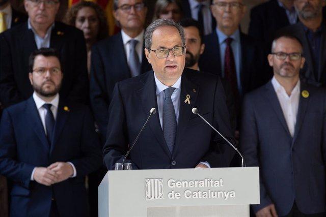 Declaració institucional del president de la Generalitat de Catalunya, Quim Torra, després de la sentència del procés independentista