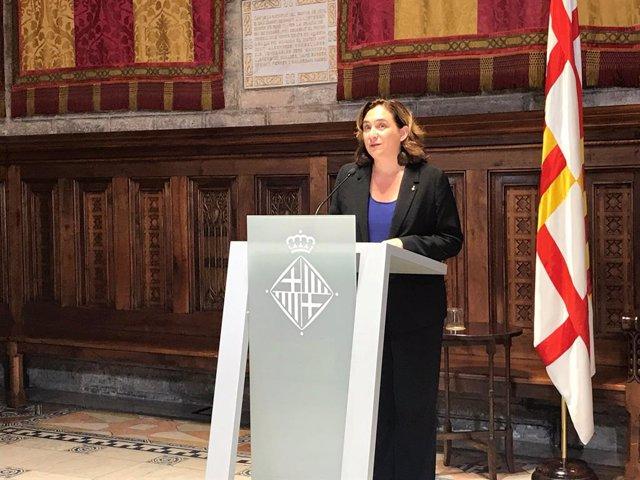 L'alcaldessa de Barcelona, Ada Colau, pronuncia una declaració institucional des de l'Ajuntament de Barcelona sobre la sentència del procés