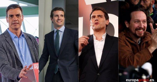 Muntatge amb Sánchez, Casado, Rivera i Iglesias