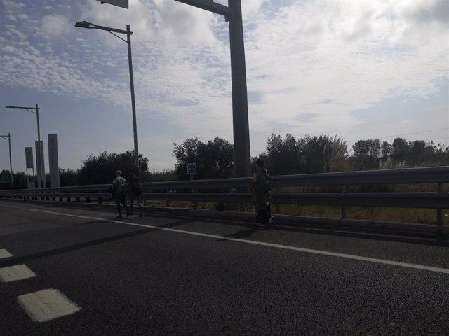 Persones que caminen per carretera cap a l'Aeroport de Barcelona