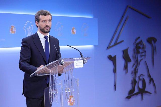 El president del PP, Pablo Casado, ofereix una roda de premsa després de conèixer-se la sentència del Tribunal Suprem (TS) sobre el procés independentista català de L'1-O, a la Moncloa, Madrid (Espanya) 14 d'octubre del 2019.