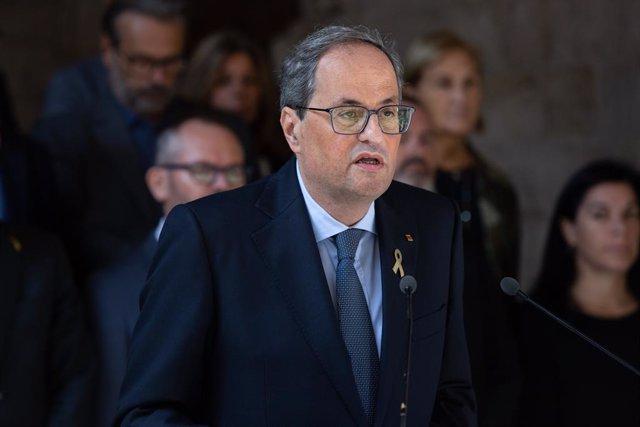 El president de la Generalitat de Catalunya, Quim Torra, fa una declaració institucional després de conèixer-se la sentència del Tribunal Suprem (TS) sobre el procés independentista català de l'1-O, al Palau de la Generalitat, Barcelona.