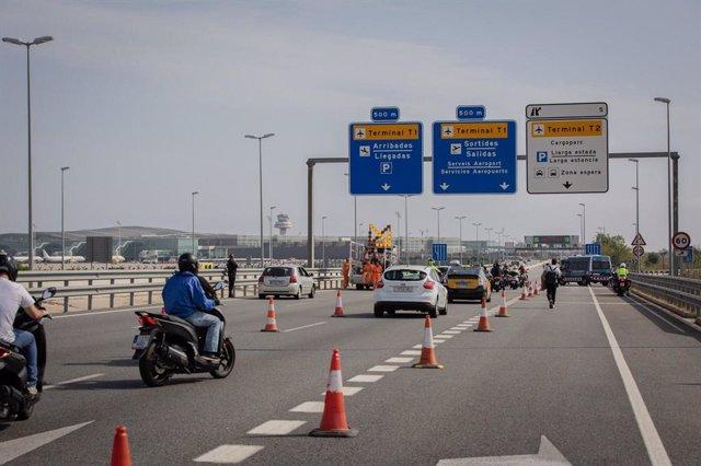 Accés a l'Aeroport de Barcelona durant una protesta contra la sentència del procés independentista.