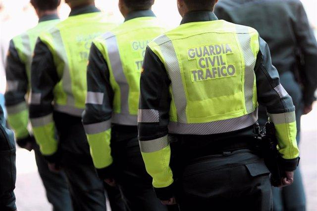 Agentes de la Guardia Civil de Tráfico en fila durante los actos de celebración de la festividad de la Virgen del Pilar, Patrona de la Guardia Civil, en Madrid (España), a 11 de octubre de 2019.