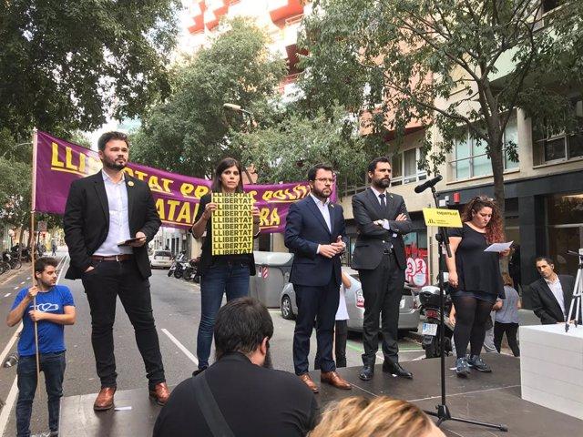 Acte d'ERC amb  Gabriel Rufián, Marta Rovira, Pere Aragons i Roger Torrent contra la sentncia del procés independentista