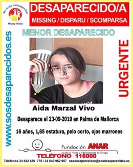 Cartel de la desaparición de Aida Marzal