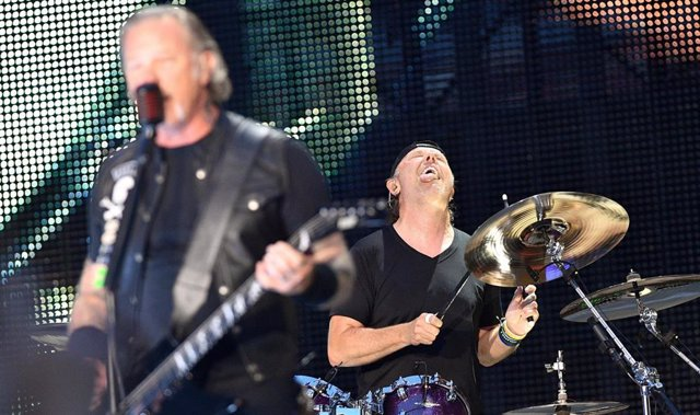 Jul7 21, 2019 - Moscow, Russia: Metallica's performance at the Luzhniki stadium. Band member Lars Ulrich (drum set) (right) at the concert. July 21, 2019. Russia, Moscow. (Alexander Miridonov/Kommersant/Contacto)