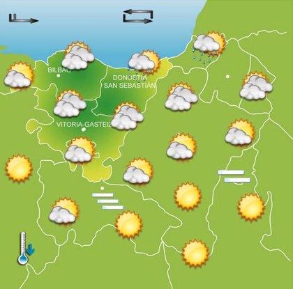 Jornada soleada pero con temperaturas frescas este martes en Euskadi, donde no se superarán los 18 grados