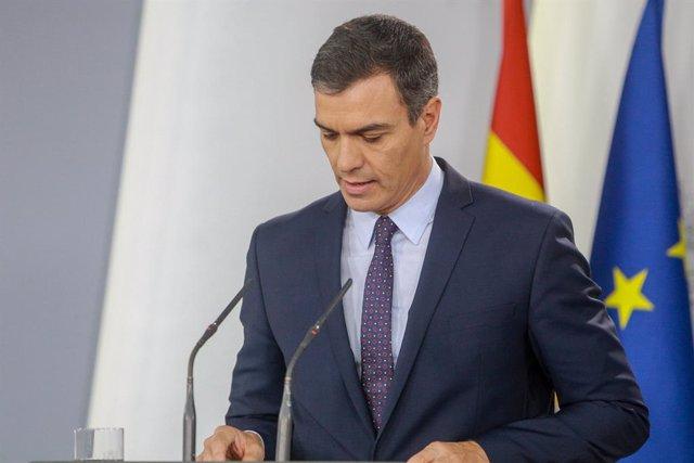 El president del Govern en funcions, Pedro Sánchez, fa una declaració institucional després de conèixer-se la sentència del Tribunal Suprem (TS) sobre el procés independentista de l'1-O, en el palau de La Moncloa, Madrid (Espanya) 14 d'octubre de 2019.