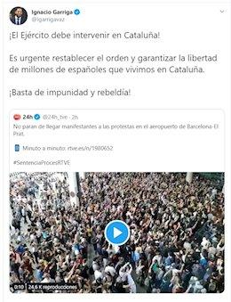 Ignacio Garriga, diputado de Vox, pidiendo la intervención del Ejército en Cataluña