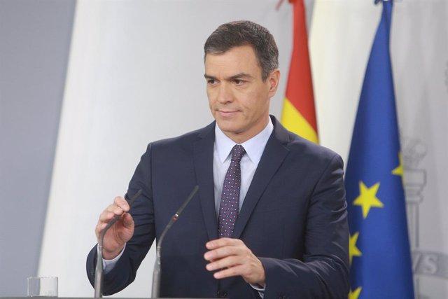 El president del Govern central, Pedro Sánchez, fa una declaració institucional després de conèixer-se la sentència del Tribunal Suprem (TS) sobre el procés independentista de l'1-O, a La Moncloa, Madrid (Espanya) 14 d'octubre del 2019.
