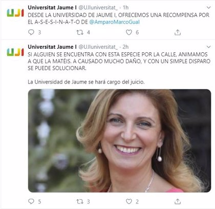 Hackean la cuenta de Twitter de la Universitat Jaume I y publican amenazas de muerte a la alcaldesa de Castelló