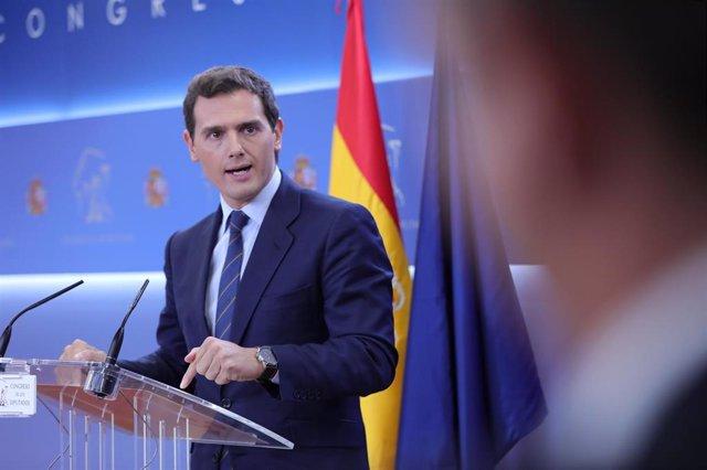 El presidente de Ciudadanos, Albert Rivera, durante la rueda de prensa ofrecida tras conocerse la sentencia del Tribunal Supremo sobre el juicio del 'procés', en Madrid (España), a 14 de octubre de 2019.