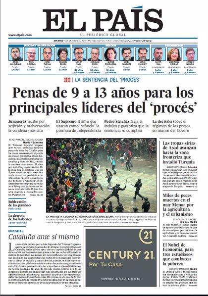 Las portadas de los periódicos del martes 15 de octubre de 2019