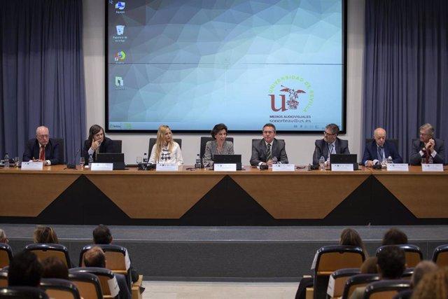 La presidenta de la Tribunal de Cuentas, María José de la Fuente, en la inauguración este martes del curso sobre el Tribunal de Cuentas y la Ley de Contratos del Sector Público.
