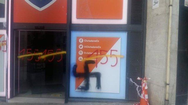 Pintada a la seu de Cs a Barcelona