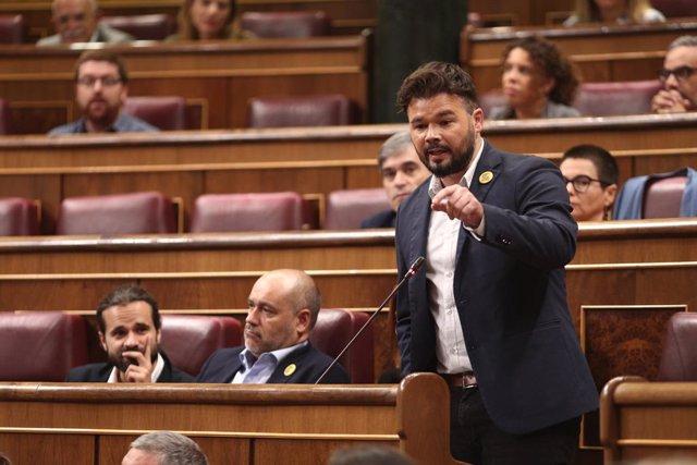 El portaveu d'ERC en el Congrés, Gabriel Rufián, compareix en sessió de control al Govern en funcions un dia després de conèixer-se la gairebé plena seguretat d'unes eleccions el 10 de novembre, a Madrid (Espanya),  18 de setembre del 2019.