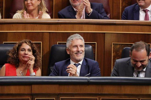 Fernando Grande-Marlaska, en el seu escó al Congrés.
