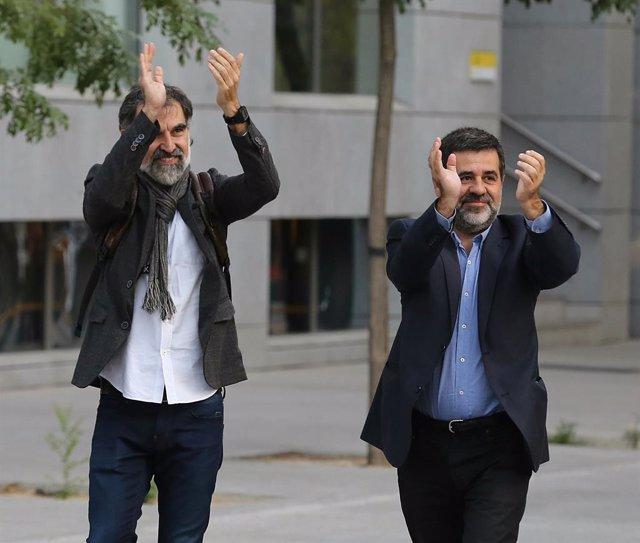 Jordi Sànchez i Jordi Cuixart acudeixen a declarar a l'Audiència Nacional
