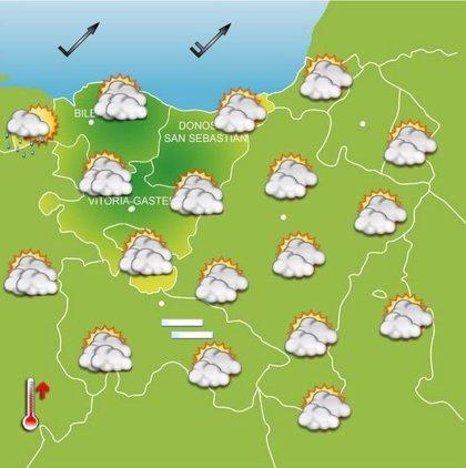 Aumento de la nubosidad y subida de las temperaturas por el viento sur este miércoles en Euskadi
