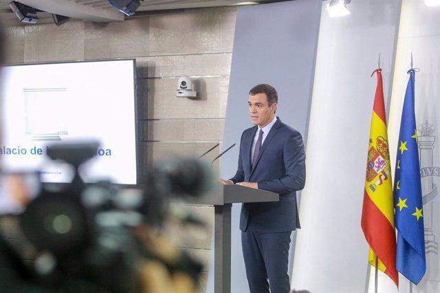 El president del Govern central en funcions, Pedro Sánchez, fa una declaració institucional després de conèixer-se la sentència del Tribunal Suprem (TS) sobre el procés, a La Moncloa, Madrid (Espanya) a 14 d'octubre de 2019