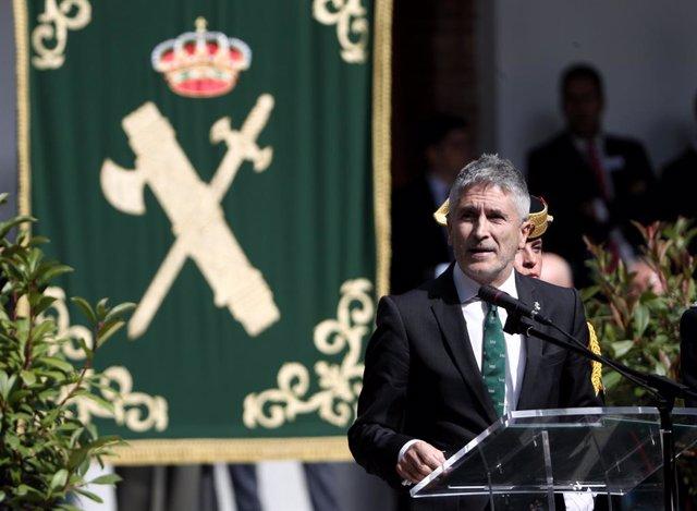 El ministre de l'Interior en funcions, Fernando Grande-Marlaska durant la seva intervenció en els actes de celebració de la festivitat de la patrona de la Guàrdia Civil, Madrid (Espanya), 11 d'octubre del 2019.