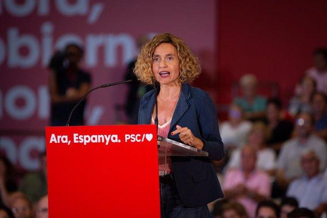 La ministra de Política Territorial i Funció Pública en funcions, Meritxell Batet, intervé en un acte polític socialista, a Barcelona, a 9 d'octubre de 2019.