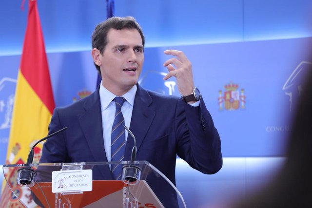 El president de Ciutadans, Albert Rivera, durant la roda de premsa que ha ofert després de conèixer la sentència del Tribunal Suprem sobre el judici del procés, a Madrid (Espanya), a 14 de octubre de 2019.