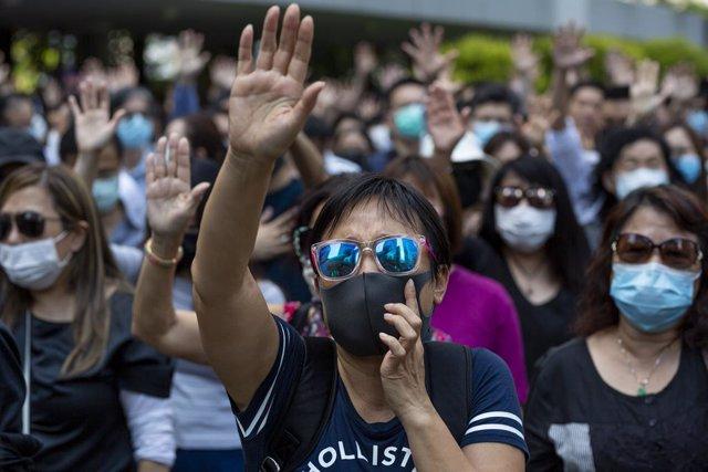 China.- Lam ofrece su discurso anual en un vídeo por las protestas en el Parlame