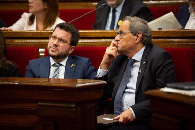 El presidente de la Generalitat Quim Torra y el vicepresidente de la Generalitat, Pere Aragonès (Archivo)