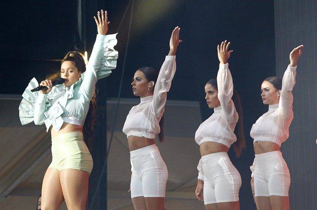 Rosalía en su concierto en el Mad Cool Festival