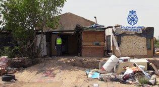La chabola donde vivían los siete jóvenes retenido