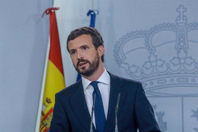 El president del PP, Pablo Casado en roda de premsa a La Moncloa després de la seva reunió amb el president del Govern central, Pedro Sánchez, per analitzar la situació a Catalunya després de la sentència del judici del procés, a Madrid