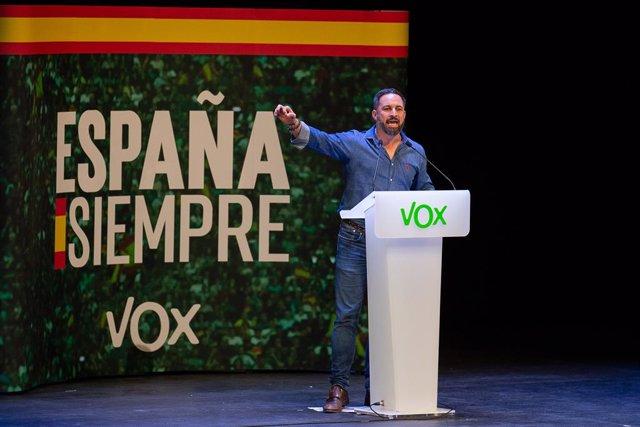 El president de Vox, Santiago Abascal, en un acte de Vox a Guadalajara.