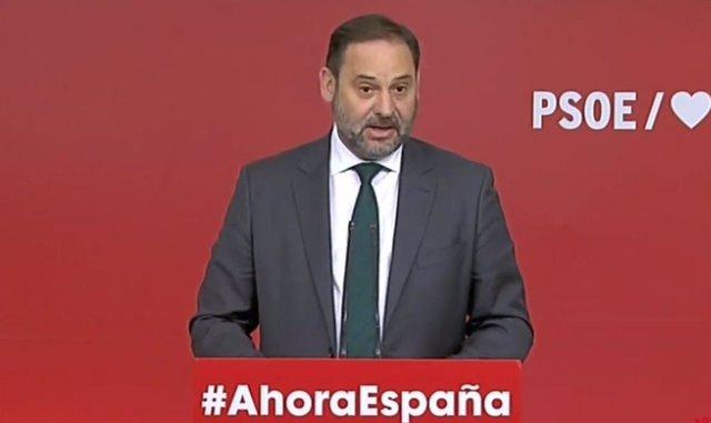 Roda de premsa del ministre de Foment en funcions, José Luis Ábalos.