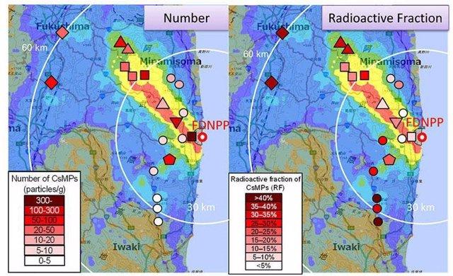 Cesio altamente radiactivo localizado a 60 kilómetros de Fukushima