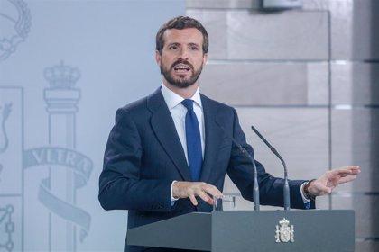"""Casado dice que Sánchez """"no está a la altura"""" ante los disturbios en Cataluña: """"Unidad sí, pero para hacer algo"""""""