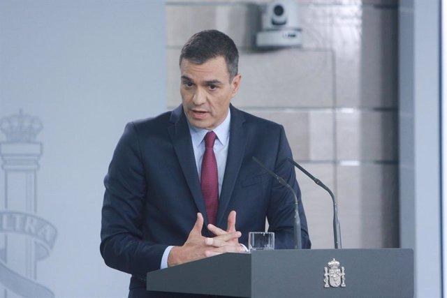 El president del Govern, Pedro Sánchez, realitza una intervenció en el Palau de la Moncloa, a Madrid (Espanya) a 16 d'octubre de 2019.