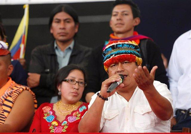 El presidente de la Confederación de Nacionalidades Indígenas de Ecuador (CONAIE), Jaime Vargas.