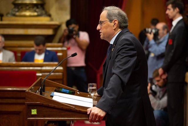 El president de la Generalitat de Catalunya, Quim Torra, comparece en el Parlament para informar de los últimos acontecimientos sucedidos tras conocerse la sentencia del 'proces' el pasado 14 de octubre, en Barcelona (Cataluña, España), a 17 de octubre de