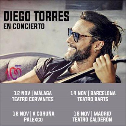 Diego Torres actuará en noviembre en Málaga, Barcelona, A Coruña y Madrid
