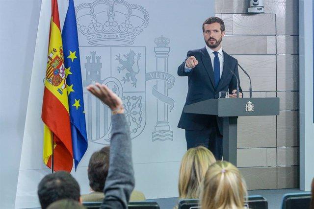 El president del PP, Pablo Casado en roda de premsa a La Moncloa després de la seva reunió amb el president del Govern central, Pedro Sánchez, per analitzar la situació a Catalunya després de la sentència del judici del procés, a Madrid (Espanya)